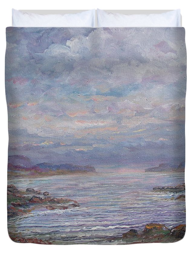 Painting Duvet Cover featuring the painting Quiet Bay. by Leonard Holland