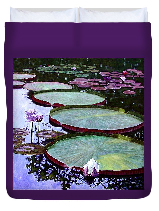 Botanical Duvet Cover featuring the painting Quiet Beauty by John Lautermilch