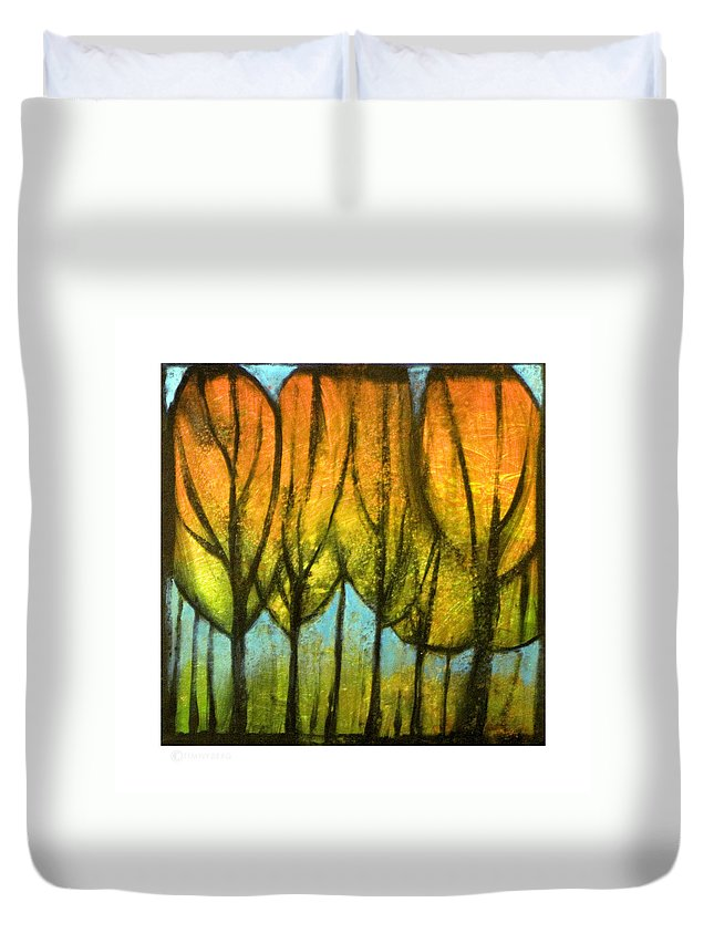 Trees Duvet Cover featuring the painting Quiet Blaze by Tim Nyberg