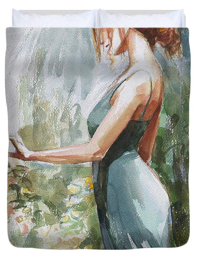 Garden Duvet Cover featuring the painting Quiet Contemplation by Steve Henderson