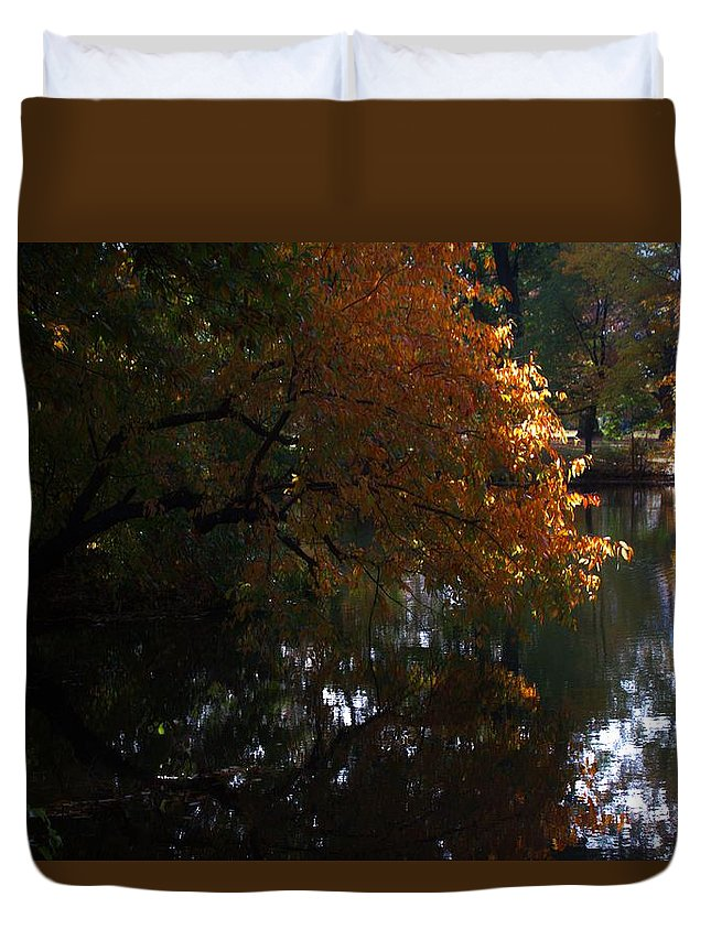 Trees Duvet Cover featuring the photograph Quiet On The Lake by Thomas Mack