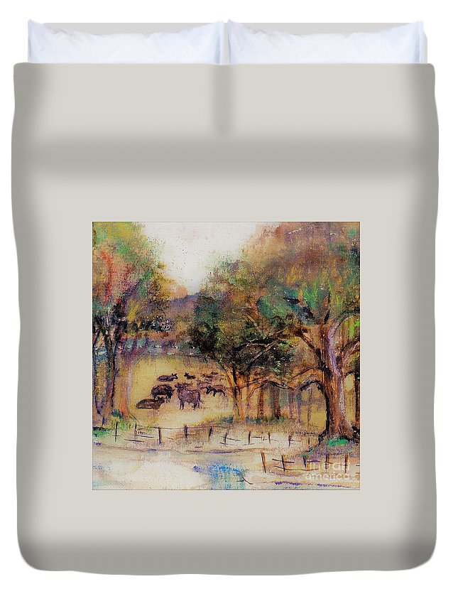 Cows Duvet Cover featuring the painting Quiet Pastures by Carliss Prosser