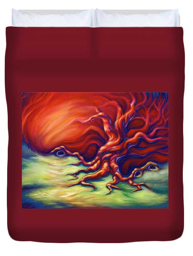 Oil Painting Duvet Cover featuring the painting Quiet Place by Jennifer McDuffie