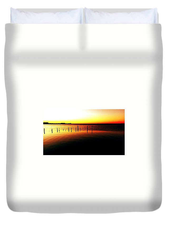 Duvet Cover featuring the digital art Quiet Time At Lake Mary by Alfred Blaho