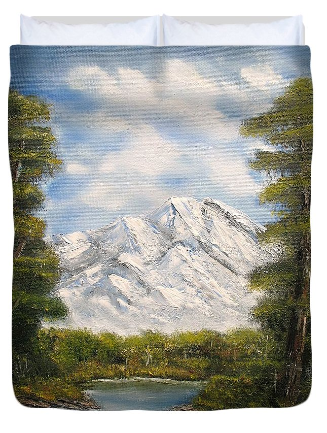Rocky Duvet Cover featuring the painting Quiet View by Lisa Cini