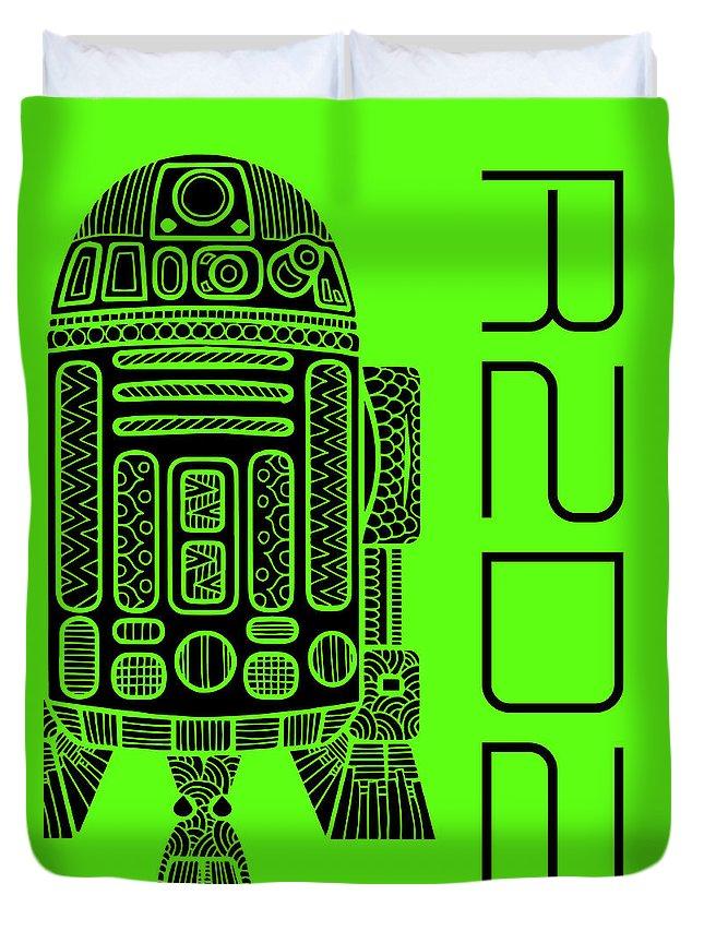 R2d2 Duvet Cover featuring the mixed media R2d2 - Star Wars Art - Green by Studio Grafiikka