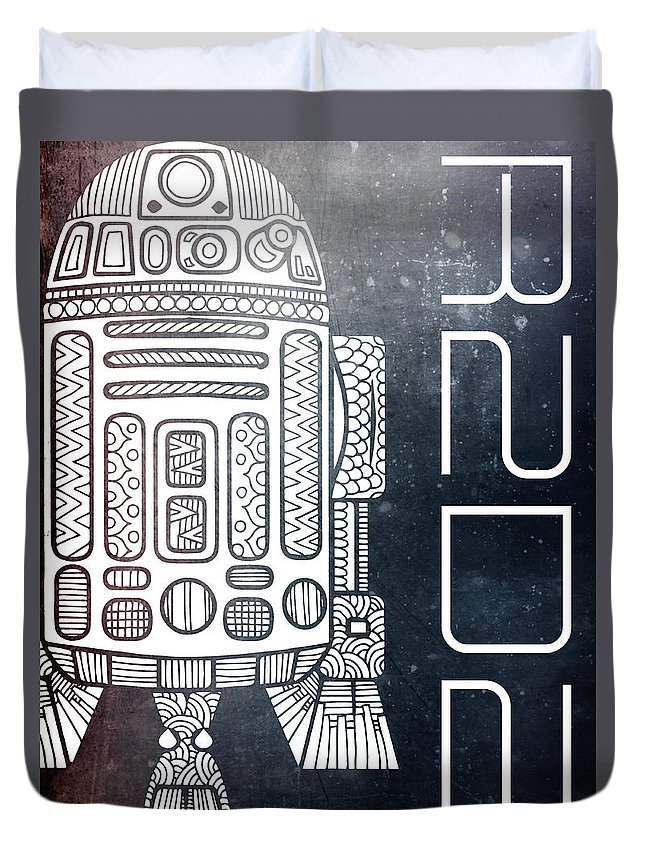 R2d2 Duvet Cover featuring the mixed media R2d2 - Star Wars Art - Space by Studio Grafiikka