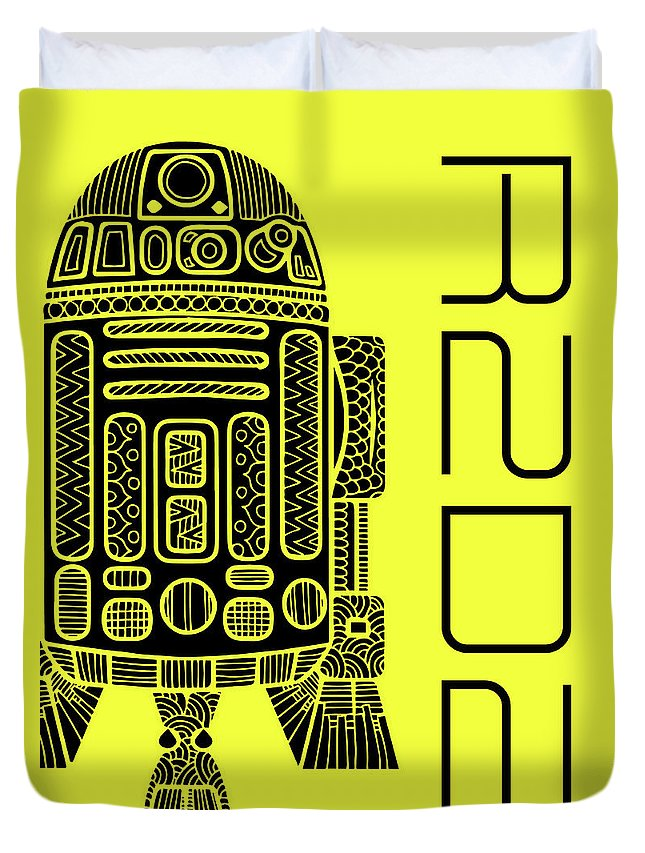 R2d2 Duvet Cover featuring the mixed media R2d2 - Star Wars Art - Yellow by Studio Grafiikka
