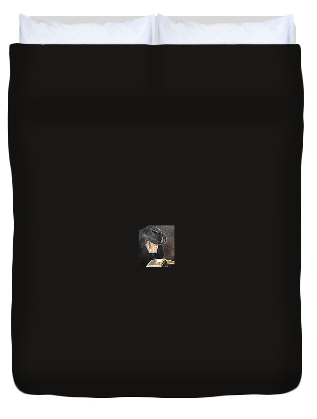 Portrait Duvet Cover featuring the painting Rabbi by Toni Berry