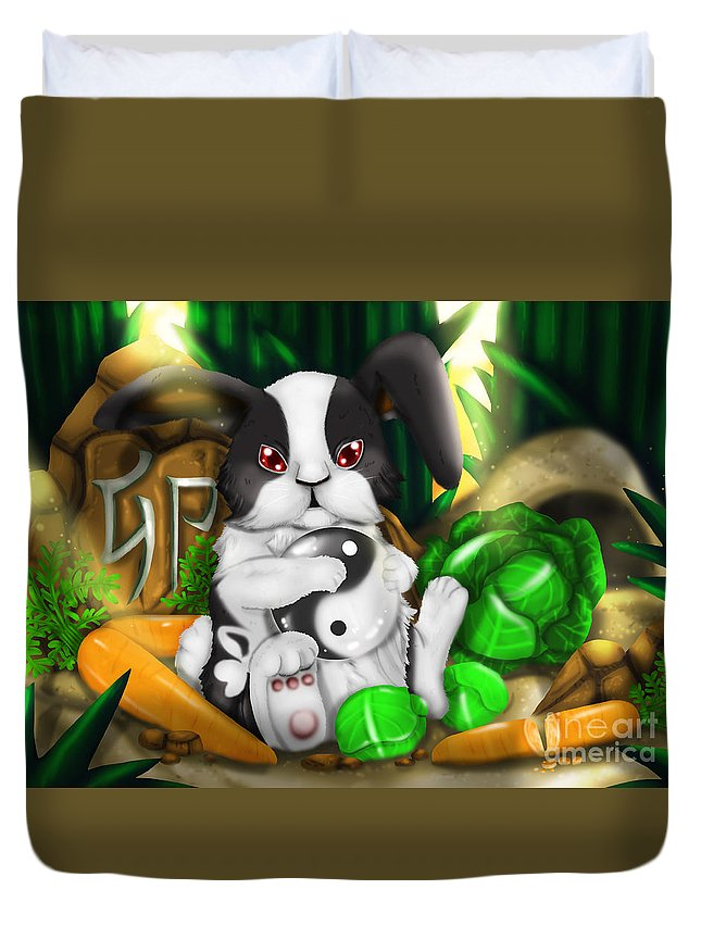 Zoo Duvet Cover featuring the painting Rabbit In Chinese Zodiac by TheoFeatheR