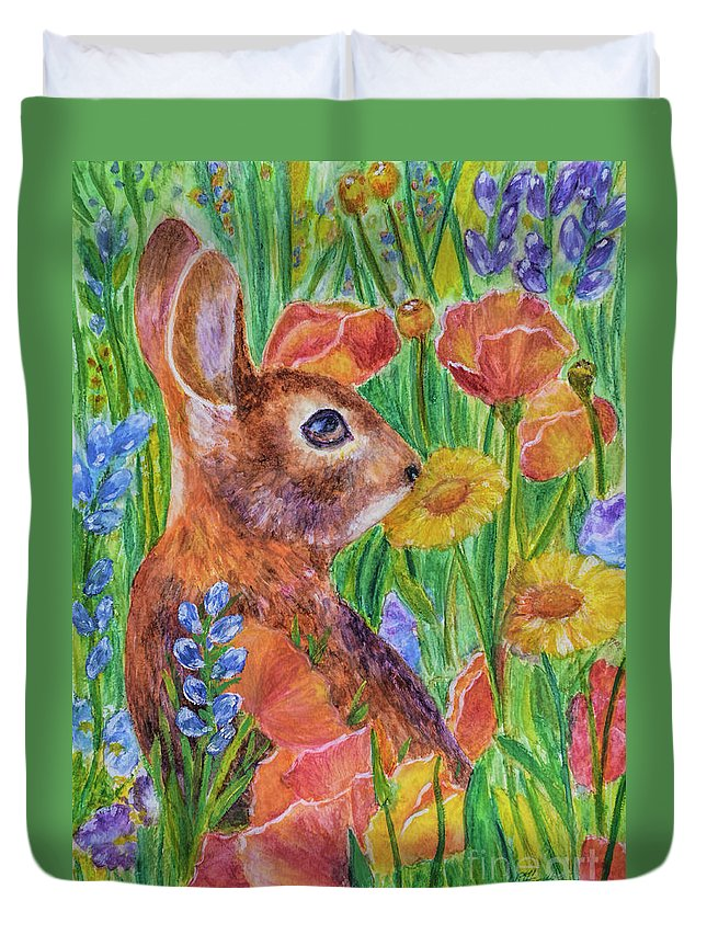 Rabbit In Meadow Duvet Cover featuring the painting Rabbit In Meadow by Olga Hamilton