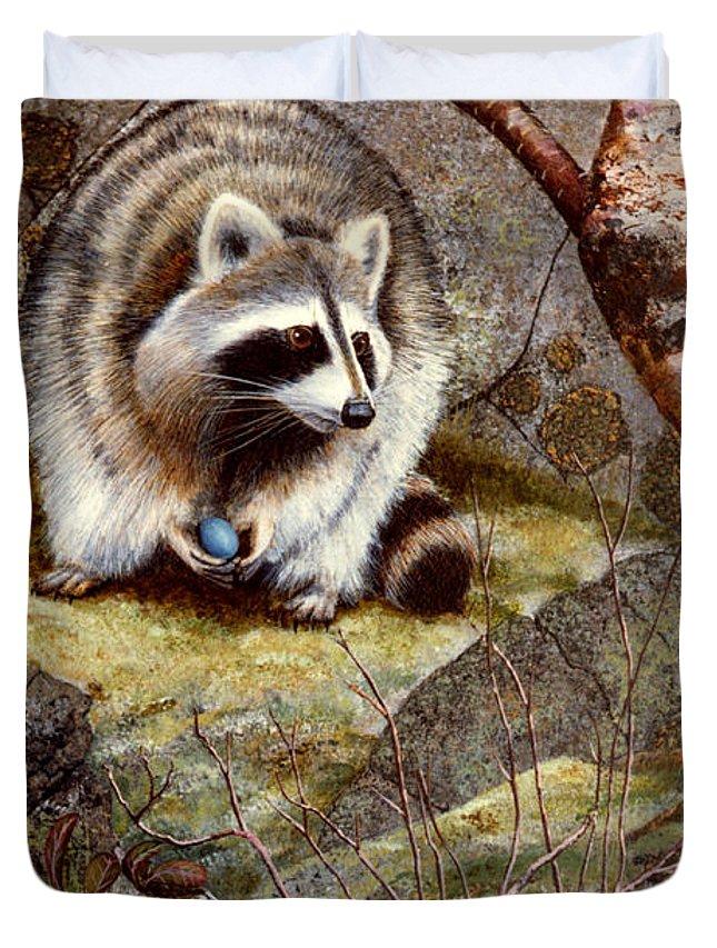 Raccoon Found Treasure Duvet Cover featuring the painting Raccoon Found Treasure by Frank Wilson