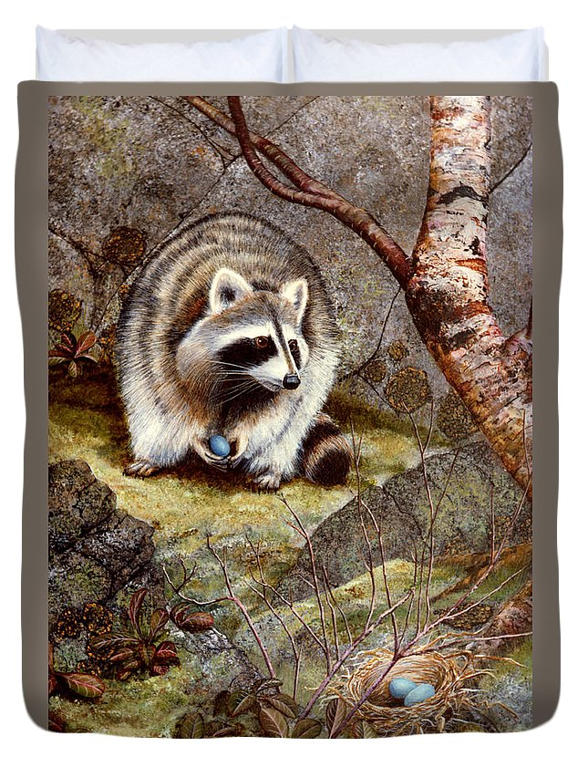 Raccoon Found Treasure Duvet Cover featuring the painting Raccoon Found Treasure by Frank Wilson