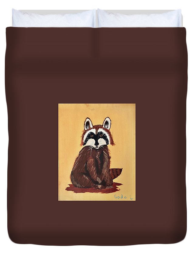 Raccoon Duvet Cover featuring the painting Raccoon by Goda Latvys