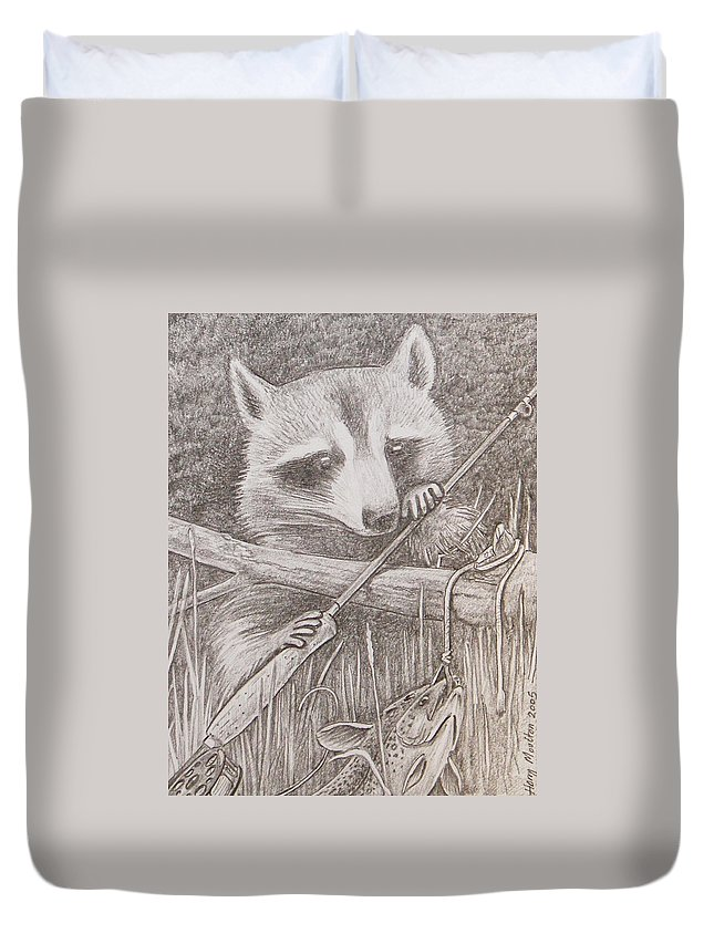 Raccoon Duvet Cover featuring the drawing Raccoon by Harry Moulton
