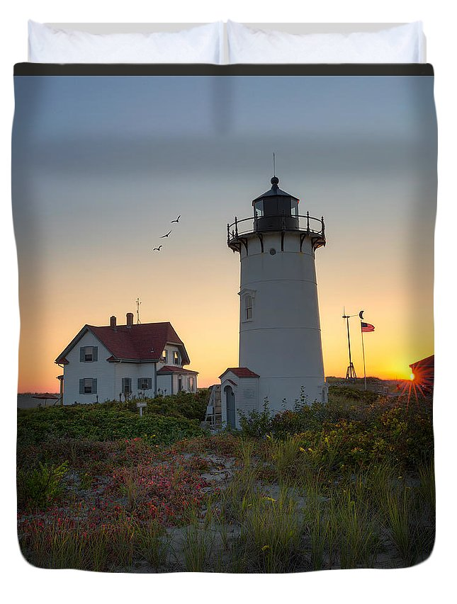 Race Point Light Duvet Cover featuring the photograph Race Point Lighthouse 2015 by Bill Wakeley