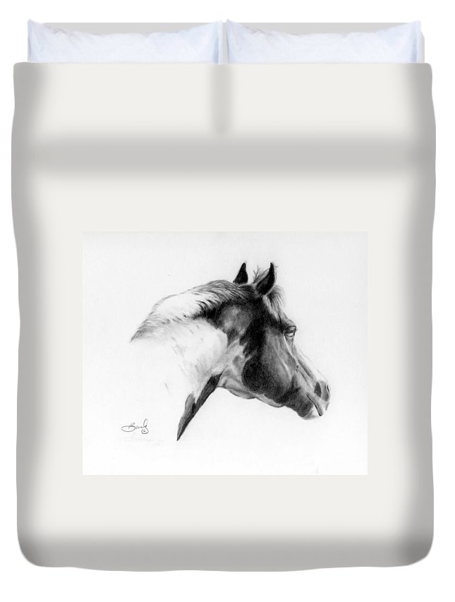 Pencil Drawing Duvet Cover featuring the drawing Racer by Beverly Johnson