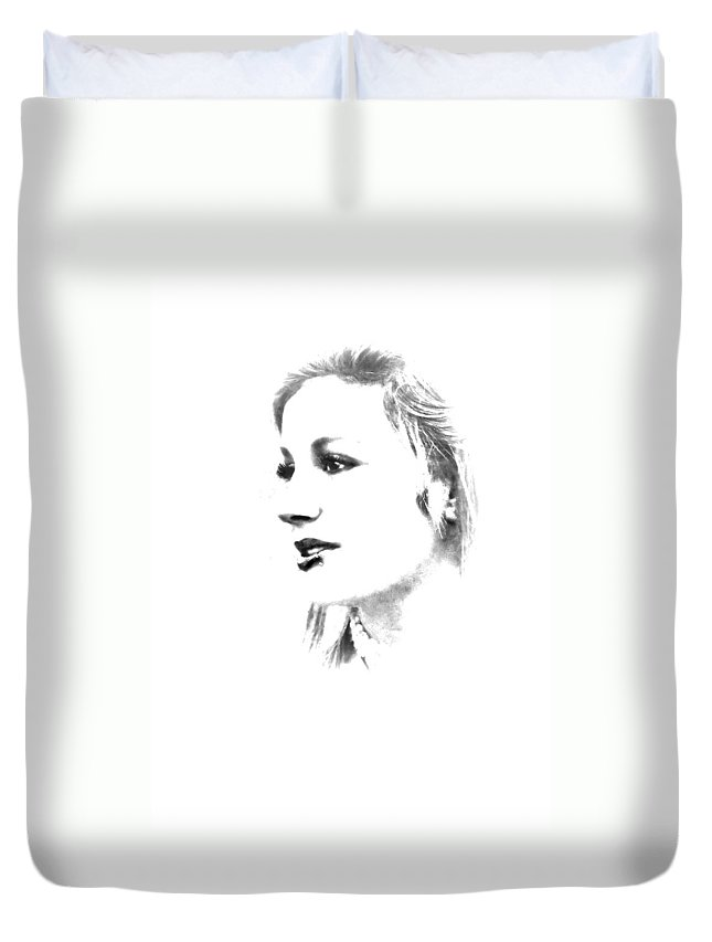 Black And White Duvet Cover featuring the photograph Rachell by Kristie Bonnewell