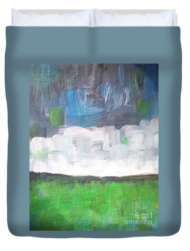 Abstract Landscape Duvet Cover featuring the painting Racing Clouds by Vesna Antic