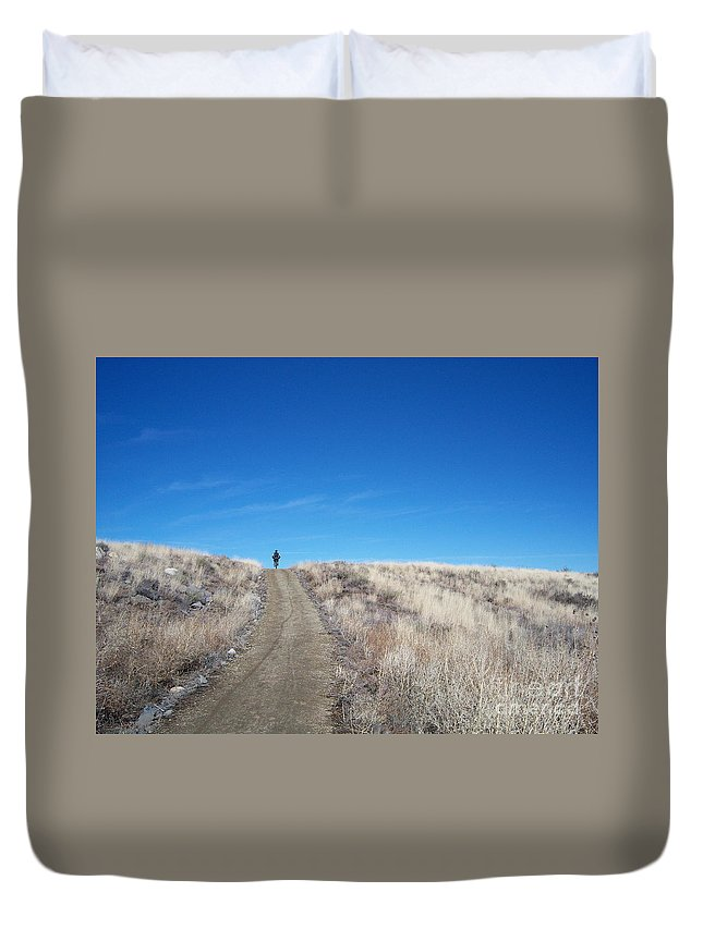 Racing Bike Duvet Cover featuring the photograph Racing Over The Horizon by Heather Kirk