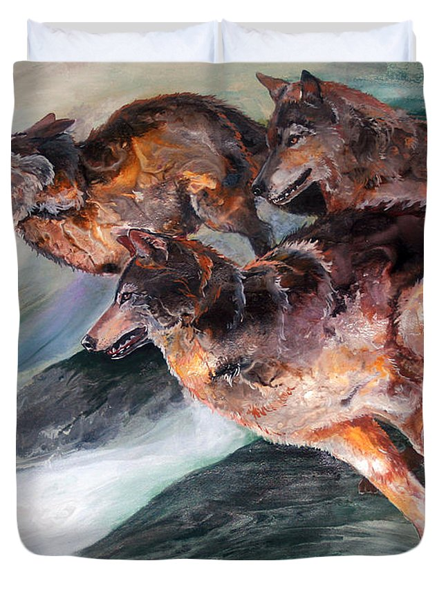 Wolf Duvet Cover featuring the painting Racing The Wind by Sherry Shipley