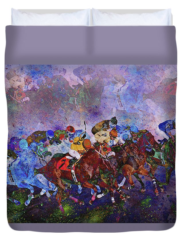 Fantasy Duvet Cover featuring the digital art Racing With Ghosts by Betsy Knapp