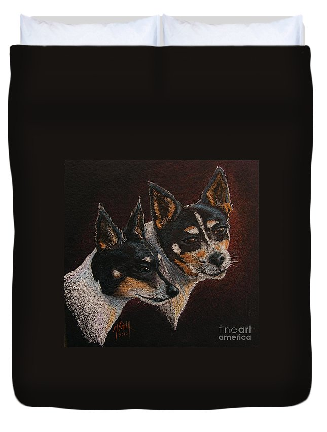 Dogs Duvet Cover featuring the drawing Radar And Ginger by Marilyn Smith