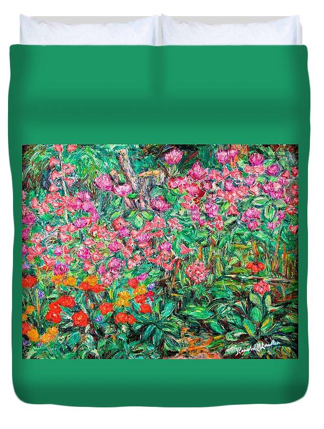 Kendall Kessler Duvet Cover featuring the painting Radford Flower Garden by Kendall Kessler