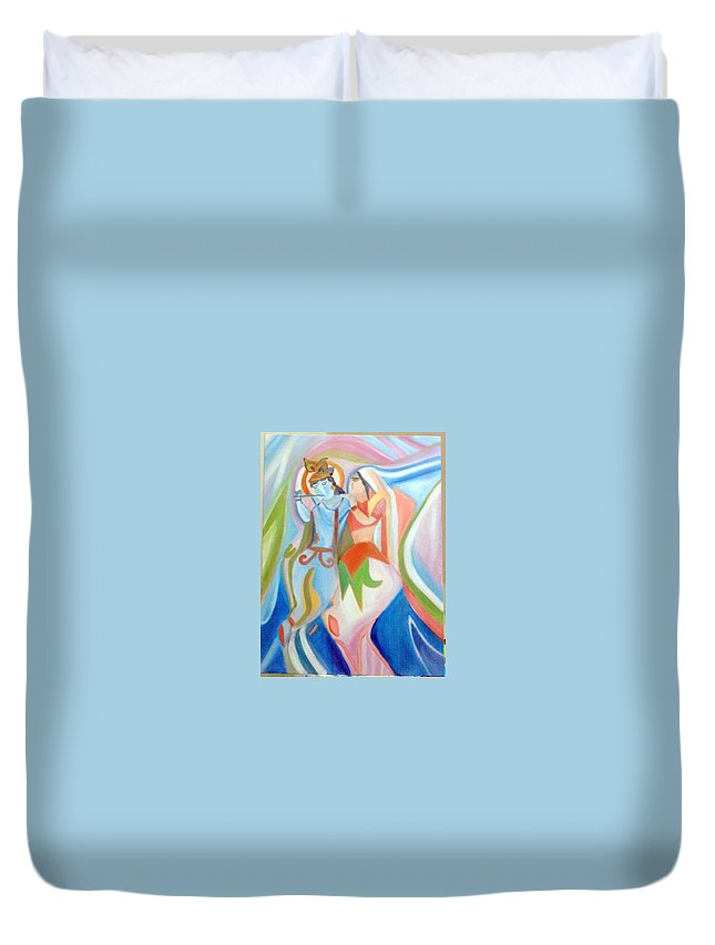 Oil Painting Duvet Cover featuring the painting Radha Krishna by Saumya Saxena