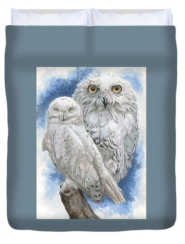 Snowy Owl Duvet Cover featuring the mixed media Radiant by Barbara Keith