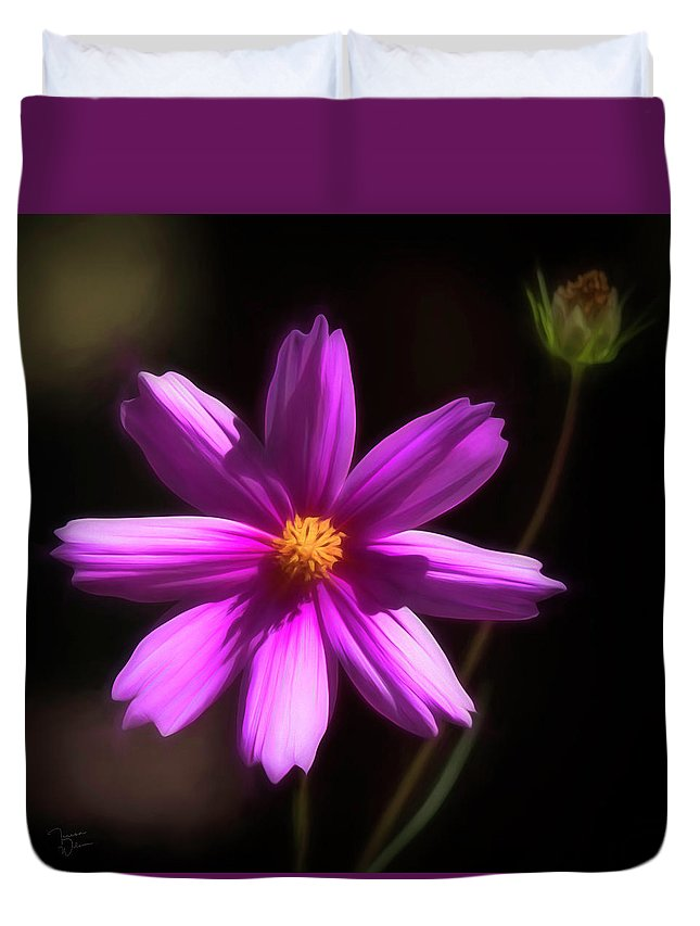 Purple Duvet Cover featuring the photograph Radiant Cosmos by Teresa Wilson