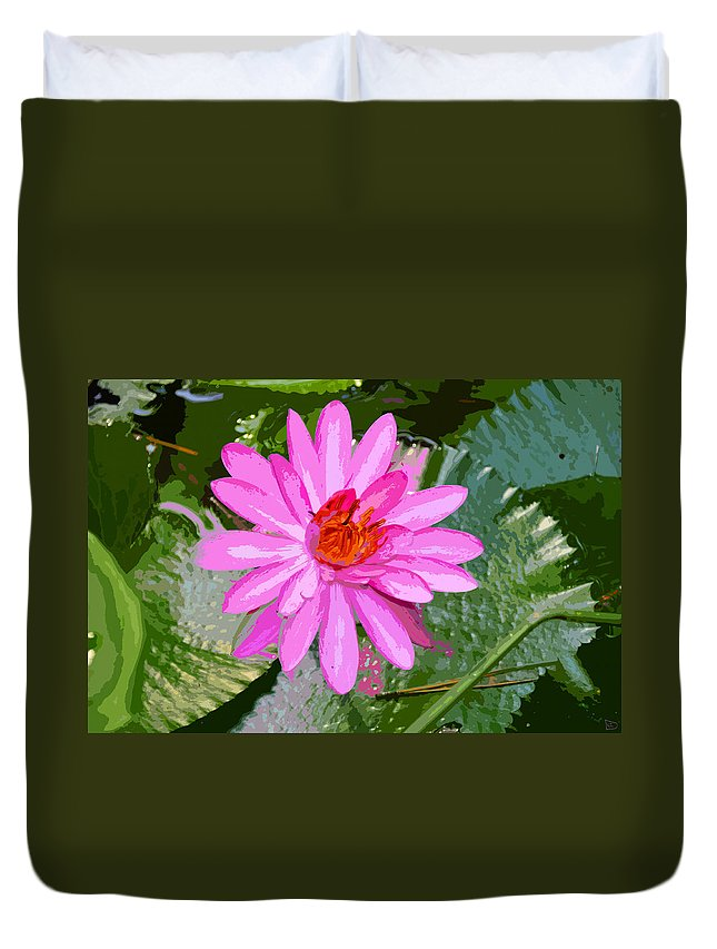 Flower Duvet Cover featuring the painting Radiant Pink by David Lee Thompson