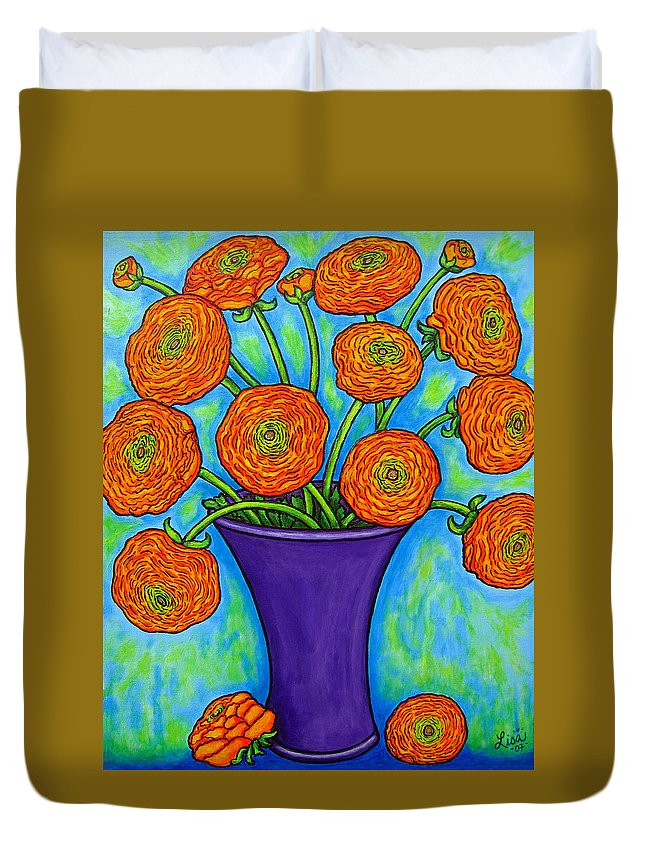 Green Duvet Cover featuring the painting Radiant Ranunculus by Lisa Lorenz