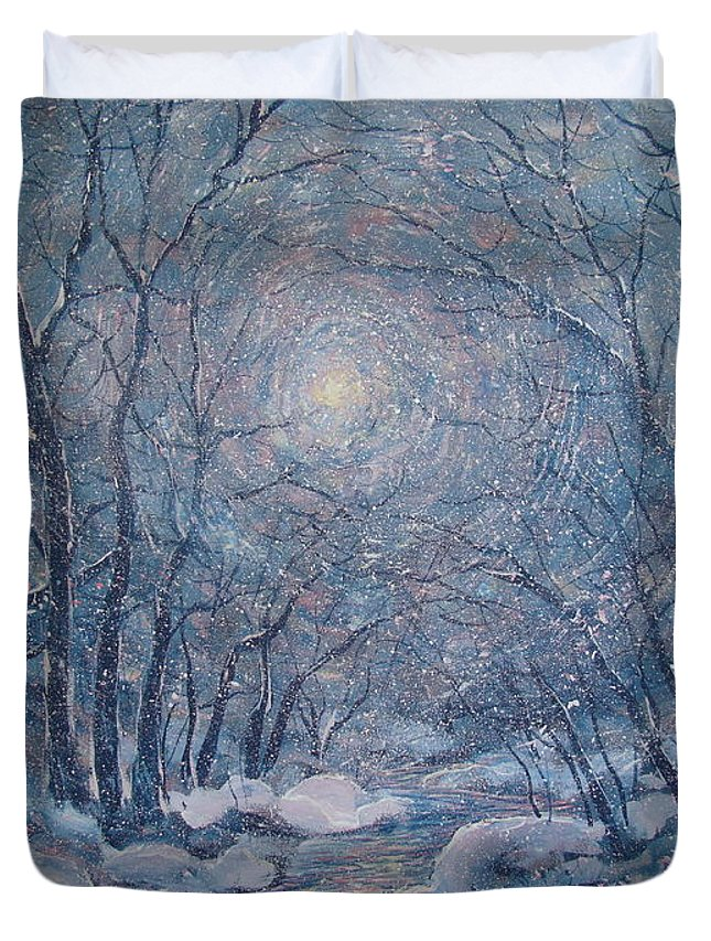 Snow Landscape Duvet Cover featuring the painting Radiant Snow Scene by Leonard Holland