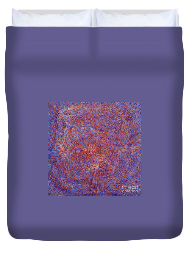 Abstract Duvet Cover featuring the painting Radiation with Blue and Red by Dean Triolo