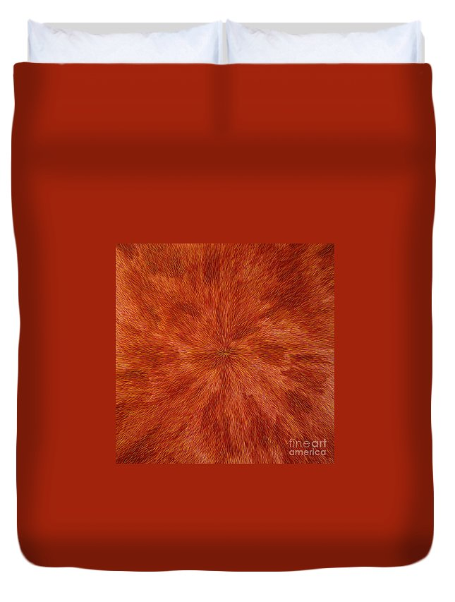 Abstract Duvet Cover featuring the painting Radiation With Brown Yellow And Voilet by Dean Triolo