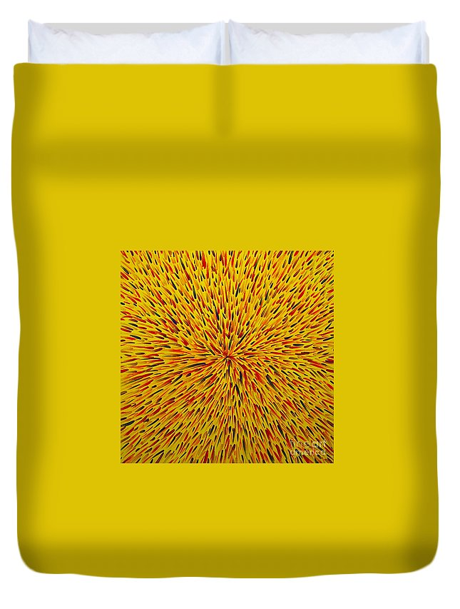 Abstract Duvet Cover featuring the painting Radiation Yellow by Dean Triolo
