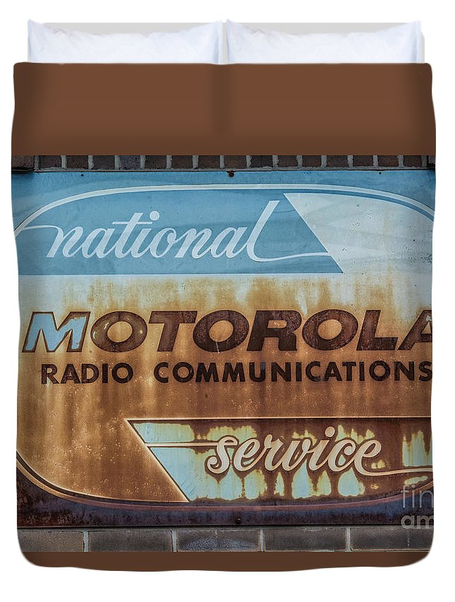 Sign Duvet Cover featuring the photograph Radio Communications by Pamela Williams