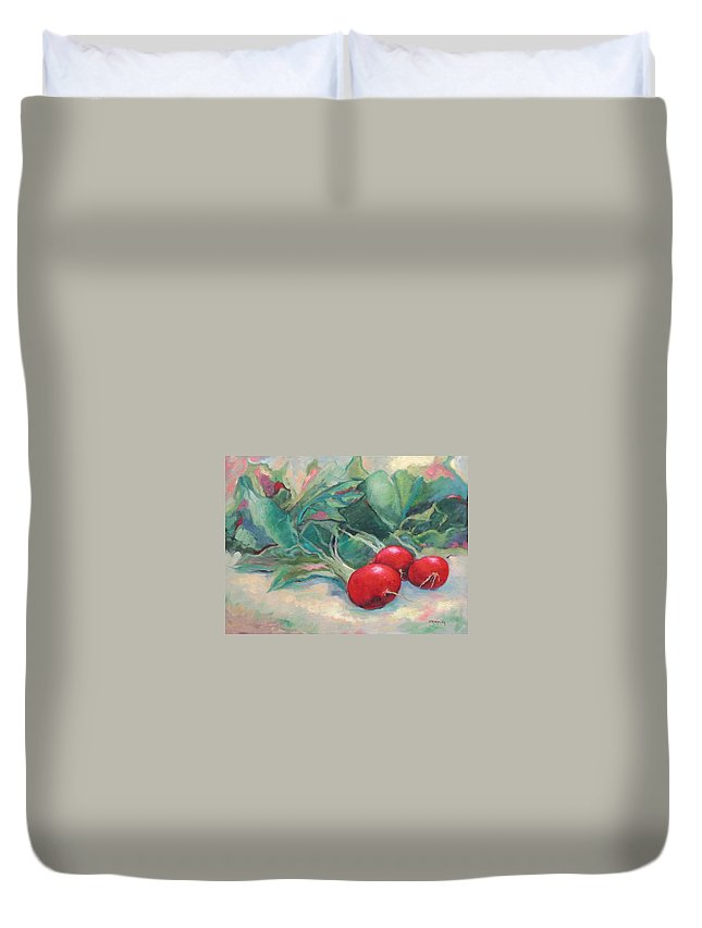 Radishes Duvet Cover featuring the painting Radishes by Ginger Concepcion