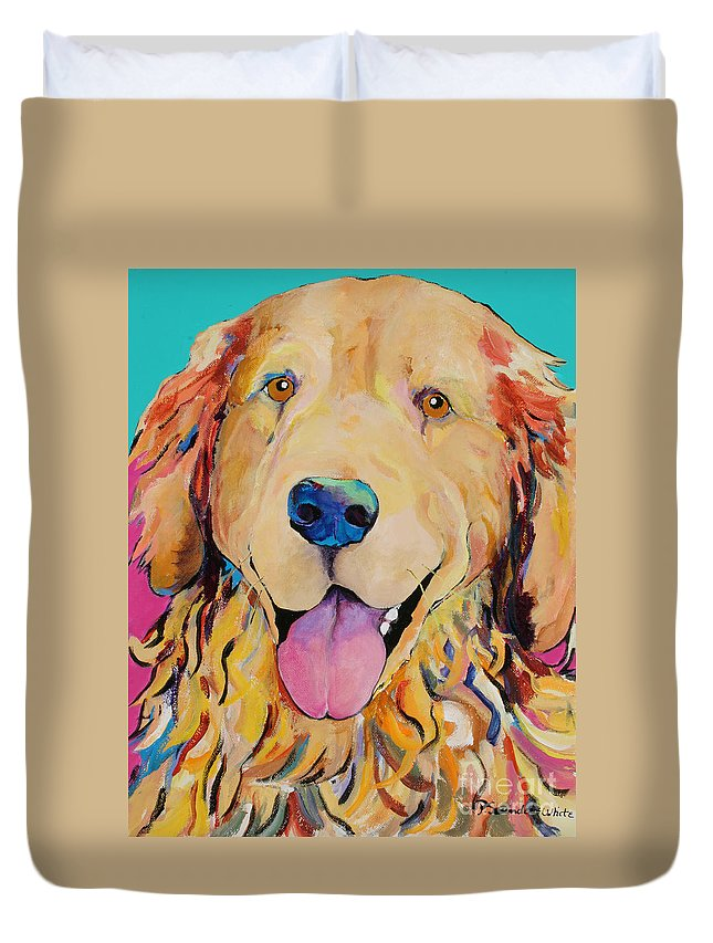 Golden Retriever Duvet Cover featuring the painting Radley by Pat Saunders-White