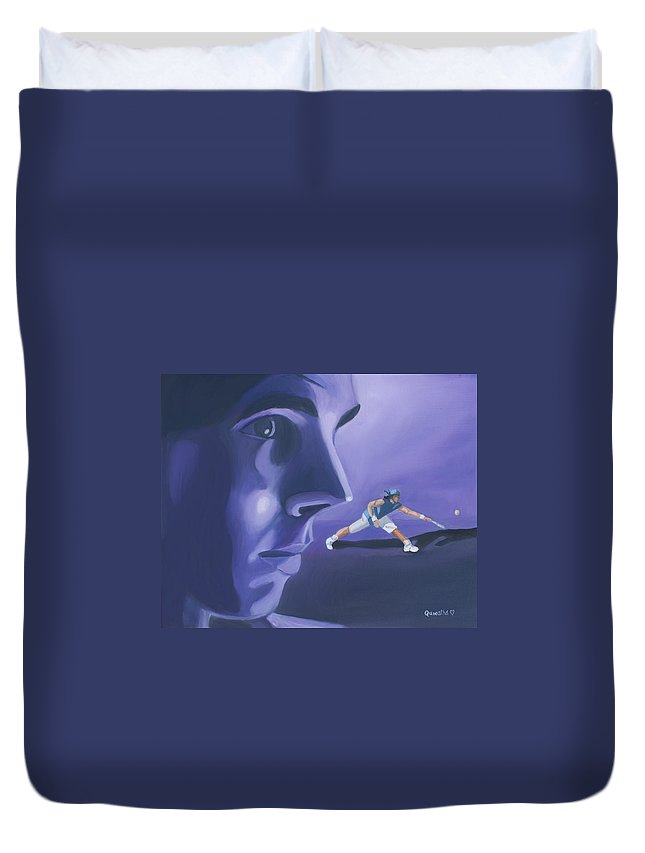 Raphael Duvet Cover featuring the painting Rafael Nadal by Quwatha Valentine