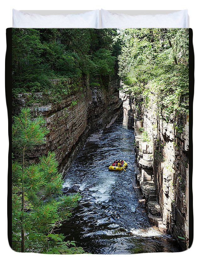 Travel Photography Duvet Cover featuring the photograph Rafting In A Gorge by Alex Kotlik