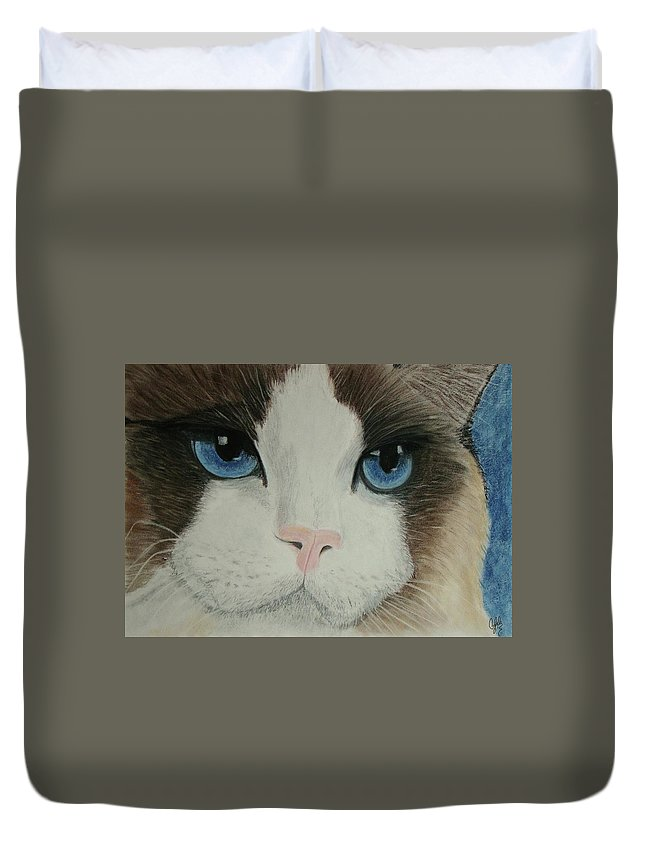 Cat Duvet Cover featuring the painting Blue Eyes by Cybele Chaves