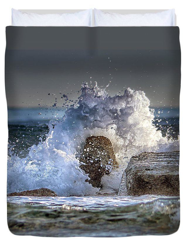 Power Duvet Cover featuring the photograph Rage Of The Sea by Stelios Kleanthous