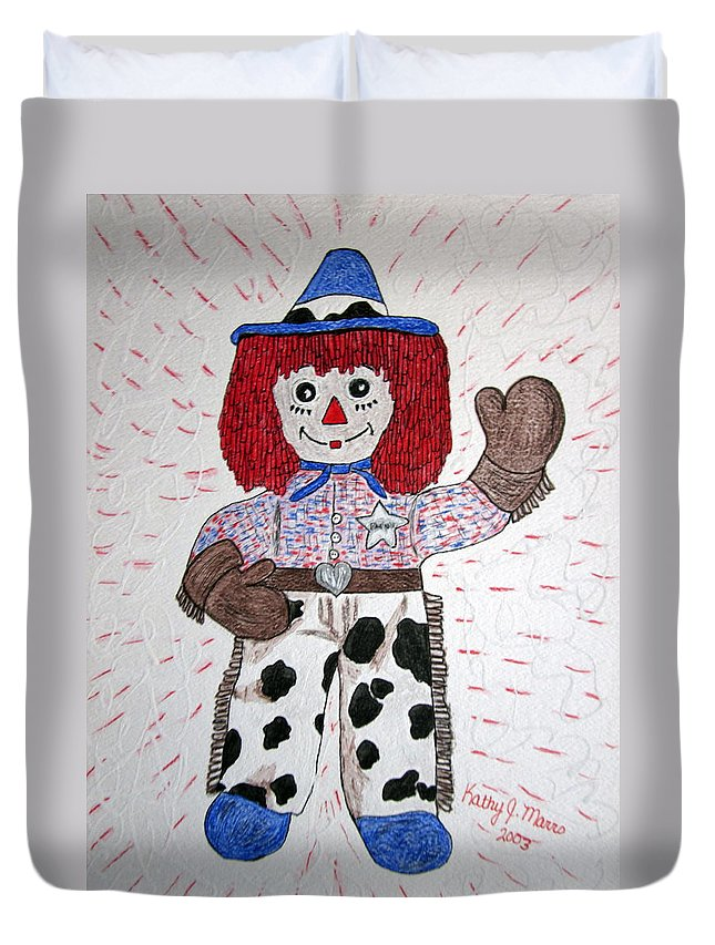 Raggedy Andy Duvet Cover featuring the painting Raggedy Andy Cowboy by Kathy Marrs Chandler