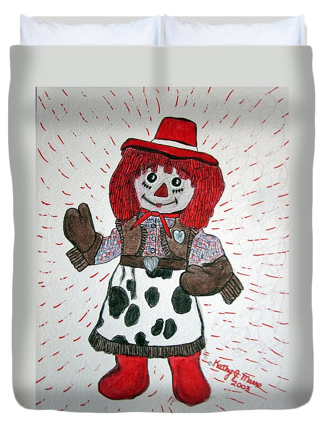Raggedy Ann Duvet Cover featuring the painting Raggedy Ann Cowgirl by Kathy Marrs Chandler