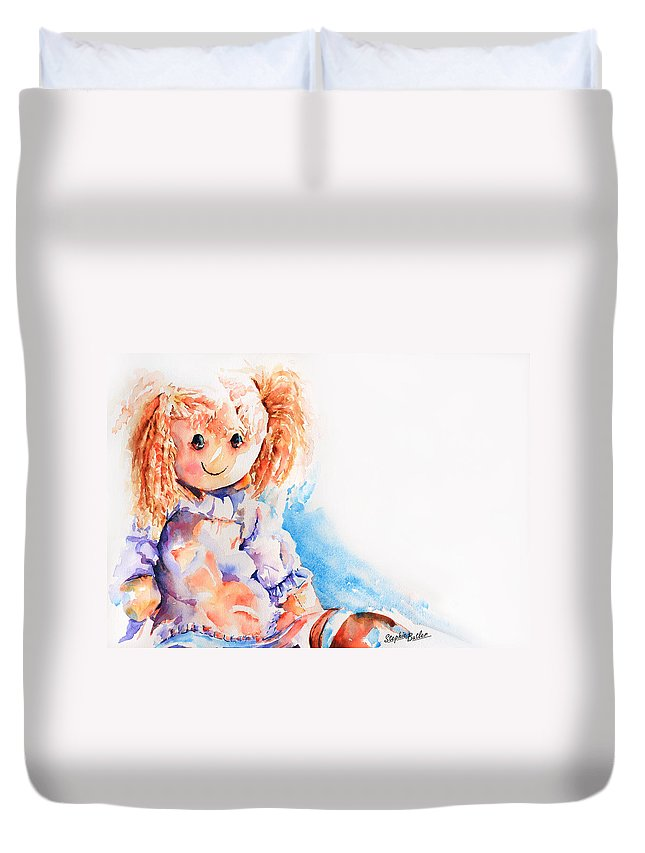 Stephie Butler Duvet Cover featuring the painting Raggedy Rosie by Stephie Butler