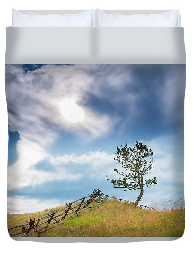 2018-07-28 Duvet Cover featuring the photograph Rail Fence And A Tree by Philip Rispin