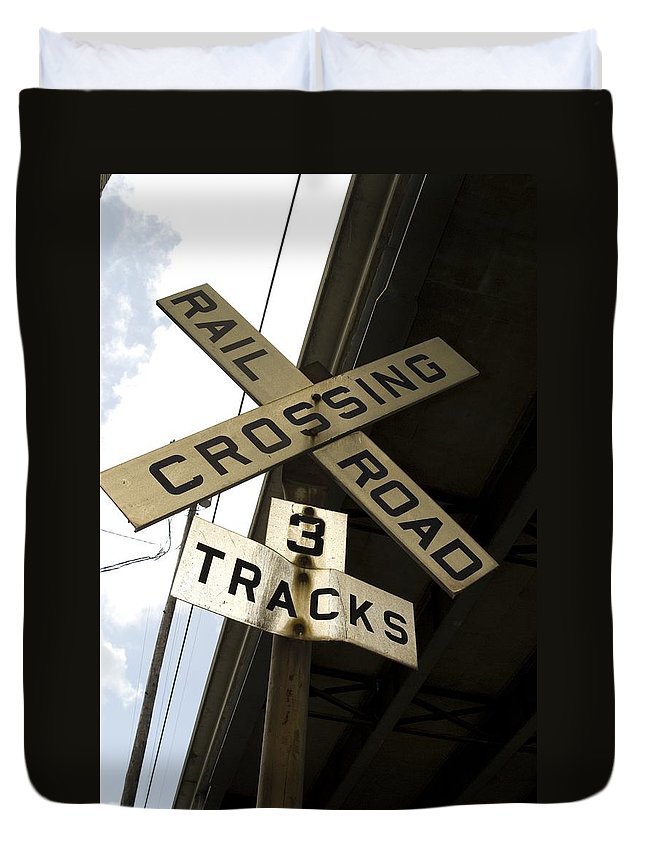 Railroad Sign Duvet Cover featuring the photograph Rail Road Sign by Sara Stevenson