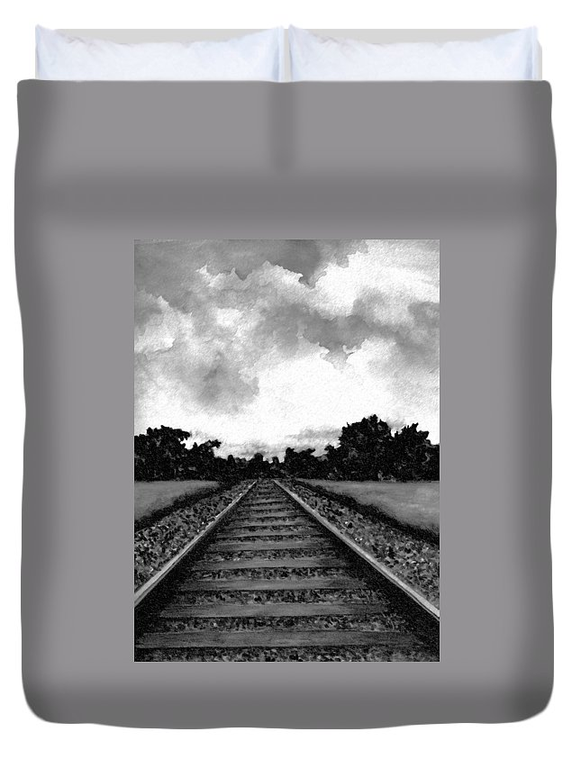 Railroad Duvet Cover featuring the drawing Railroad Tracks - Charcoal by Michael Vigliotti